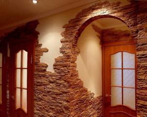 Отделка арки искусственным камнем, фото